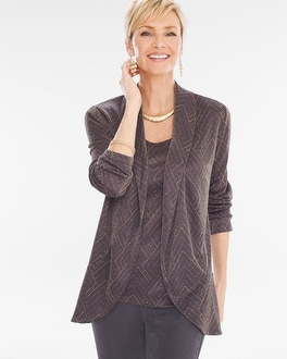 Chico's Travelers Collection Shine Jacquard Jacket at Chico's in Brooklyn, NY | Tuggl