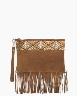 Chico's Beaded Suede Fringe Clutch | Tuggl