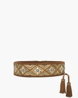 Chico's Beaded Suede Tie Belt | Tuggl
