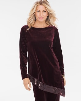 Chico's Velvet Sequin Trim Top at Chico's in Brooklyn, NY   Tuggl
