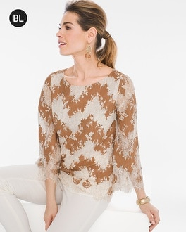 Chico's Two Tone Lace Top | Tuggl