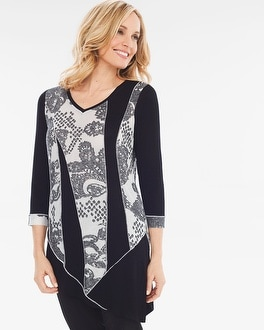 Chico's Black and White Printed Tunic | Tuggl