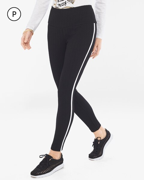 b0a4a34bd204d Return to thumbnail image selection Petite Textured Framed Leggings video  preview image, click to start video
