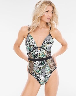 Chico's Palm Reading Push-Up One-Piece Swimsuit at Chico's in Brooklyn, NY | Tuggl