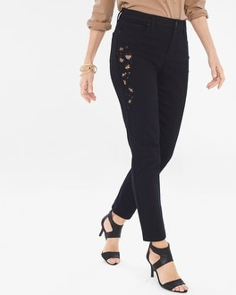 Chico's Leopard Embellished Girlfriend Ankle Jeans | Tuggl