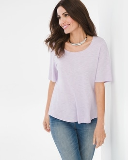 Chico's Cotton-Blend Slub Elbow-Sleeve Tee at Chico's in Brooklyn, NY | Tuggl