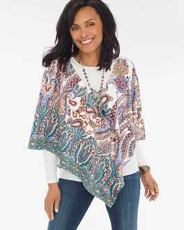 Chico's Printed Sueded Poncho | Tuggl
