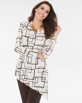 Chico's Square-Print Asymmetrical Top | Tuggl