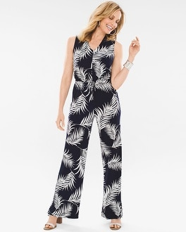 Chico's Palm-Print Jumpsuit at Chico's in Brooklyn, NY | Tuggl