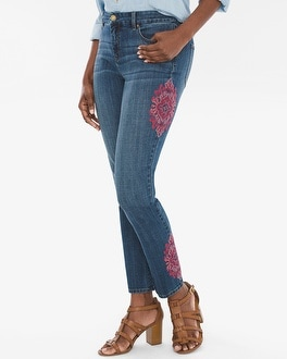Chico's Medallion Embroidered Girlfriend Ankle Jeans | Tuggl