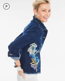 Chico's Petite Floral Applique Denim Jacket | Tuggl