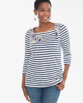Chico's Chronicle Striped Embroidered Tee | Tuggl