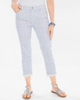Chico's Painted Pinstripe Girlfriend Crops at Chico's in Brooklyn, NY | Tuggl
