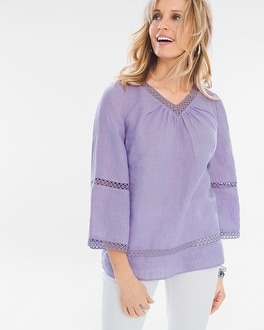 Chico's Crochet-Detail Linen Popover Top at Chico's in Brooklyn, NY | Tuggl