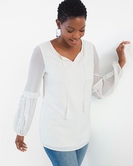 Chico's Ruffled Long-Sleeve Top | Tuggl