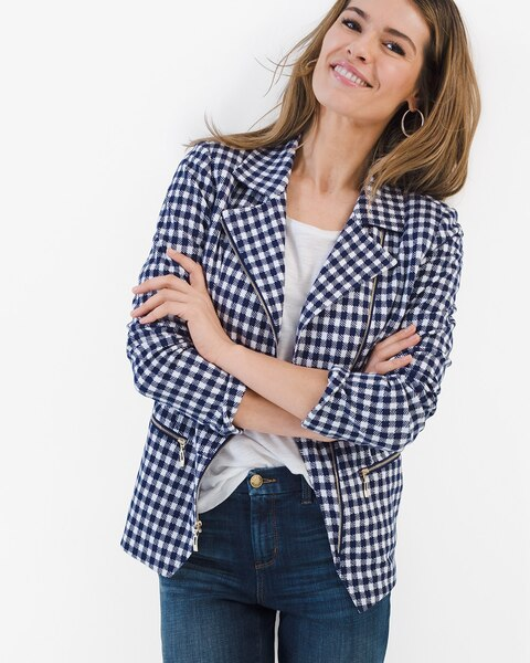 3f617ca9f7312 Return to thumbnail image selection Gingham Moto Jacket video preview  image, click to start video