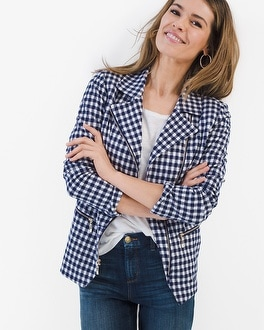 Chico's Gingham Moto Jacket at Chico's in Brooklyn, NY | Tuggl