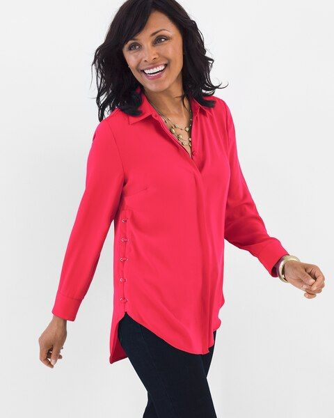 aa60368f4b6 Return to thumbnail image selection Lace-Up Side Tunic video preview image,  click to start video