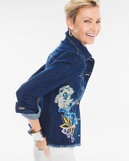 Chico's Floral Applique Denim Jacket | Tuggl