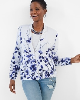 Chico's Floral Bomber Jacket at Chico's in Brooklyn, NY | Tuggl
