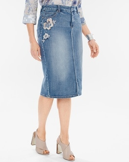 Chico's Embroidered Denim Pencil Skirt | Tuggl