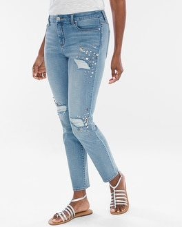Chico's Pearl Embellished Girlfriend Ankle Jeans | Tuggl