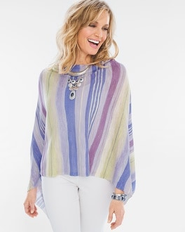 Chico's Watercolor Stripes Asymmetrical Poncho at Chico's in Brooklyn, NY | Tuggl