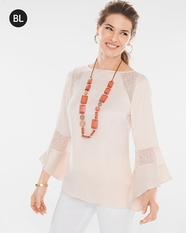 Chico's Lace Inset Top | Tuggl