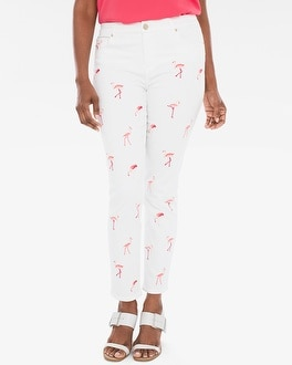 Chico's Flamingo Embroidered Girlfriend Ankle Jeans | Tuggl