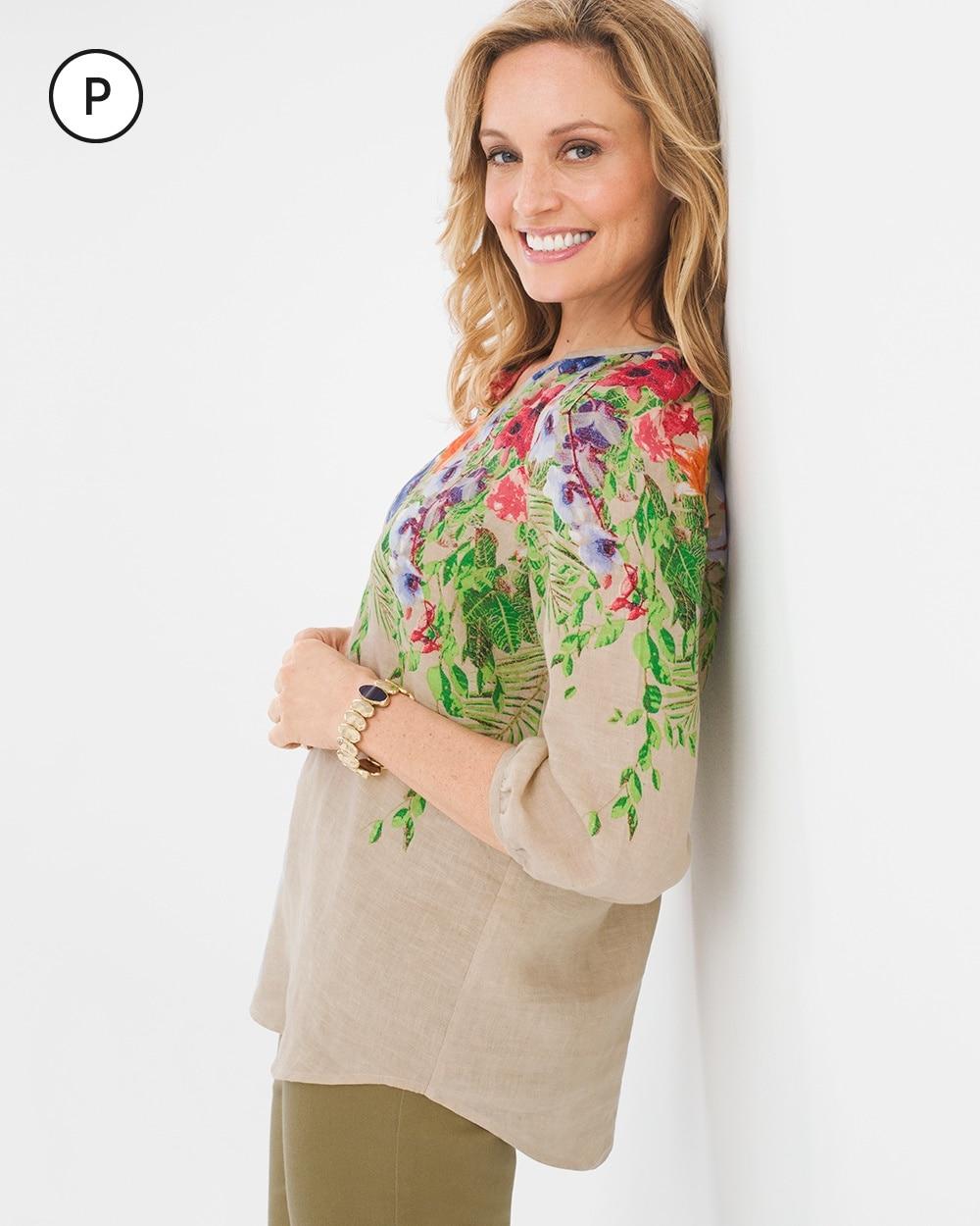 Petite Vibrant Floral Linen Pullover