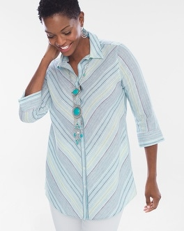 Chico's Linen Striped Loop-Back Tunic | Tuggl