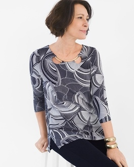 Chico's Hardware-Neck Graphic Butterfly Tunic   Tuggl