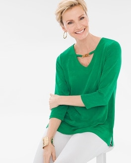 Chico's Bamboo-Trim Top   Tuggl
