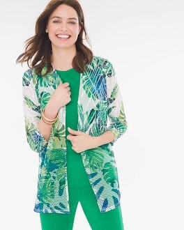 Chico's Mixed-Fabric Cardigan   Tuggl