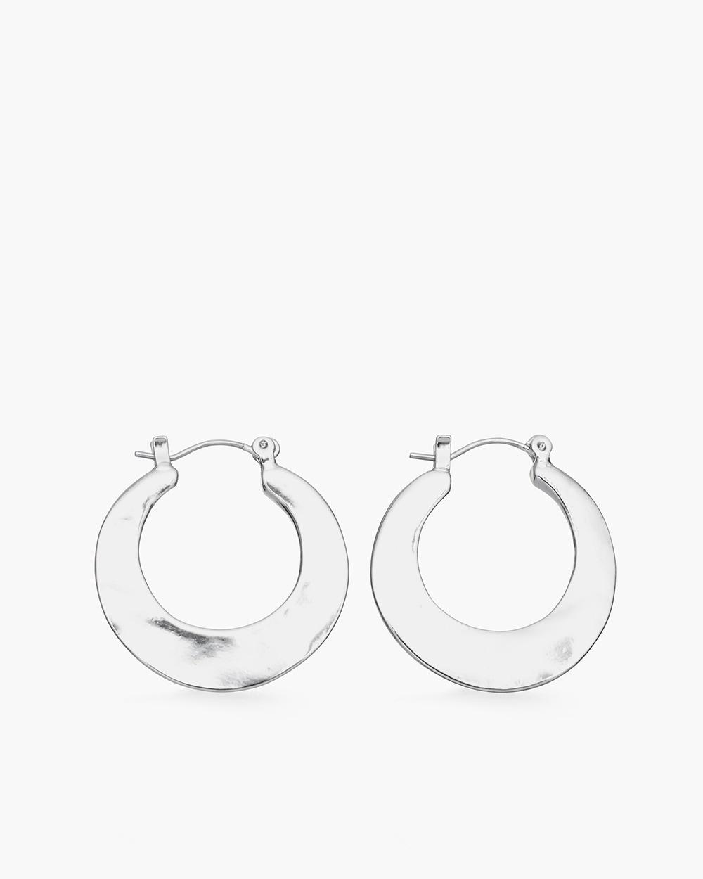 Hammered Silver Tone Hoop Earrings