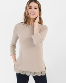 Chico's Lace-Trim Pullover at Chico's in Brooklyn, NY | Tuggl