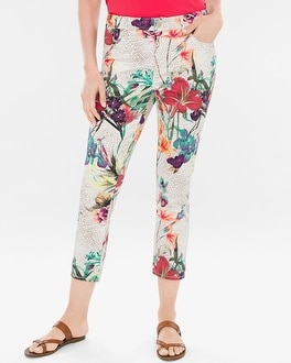 Chico's Sateen Tropical Cheetah Slim Crops | Tuggl
