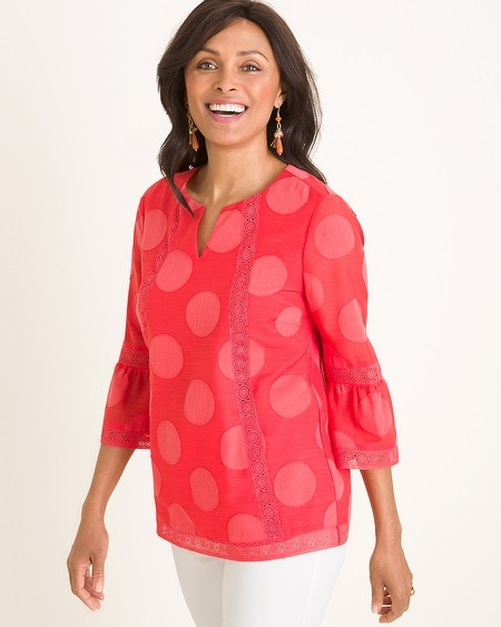 a47cc51c2f6 Blouses   Shirts. Chico s. Dot Texture Lace-Trim Top