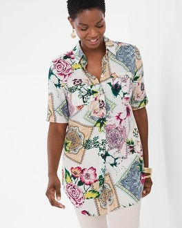 Chico's Silky Soft Floral Tiles Tunic | Tuggl