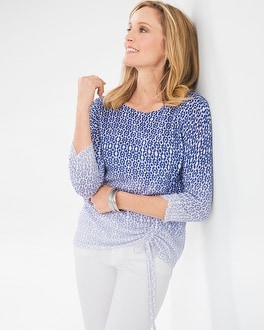 Chico's Ombre Dot Side-Ruched Pullover | Tuggl