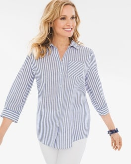 Chico's Linen Striped Shirt | Tuggl