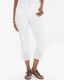Chico's Eyelet Hem Girlfriend Crops at Chico's in Brooklyn, NY | Tuggl