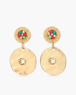 Chico's Multi-Colored Seed Bead Disc Earrings | Tuggl
