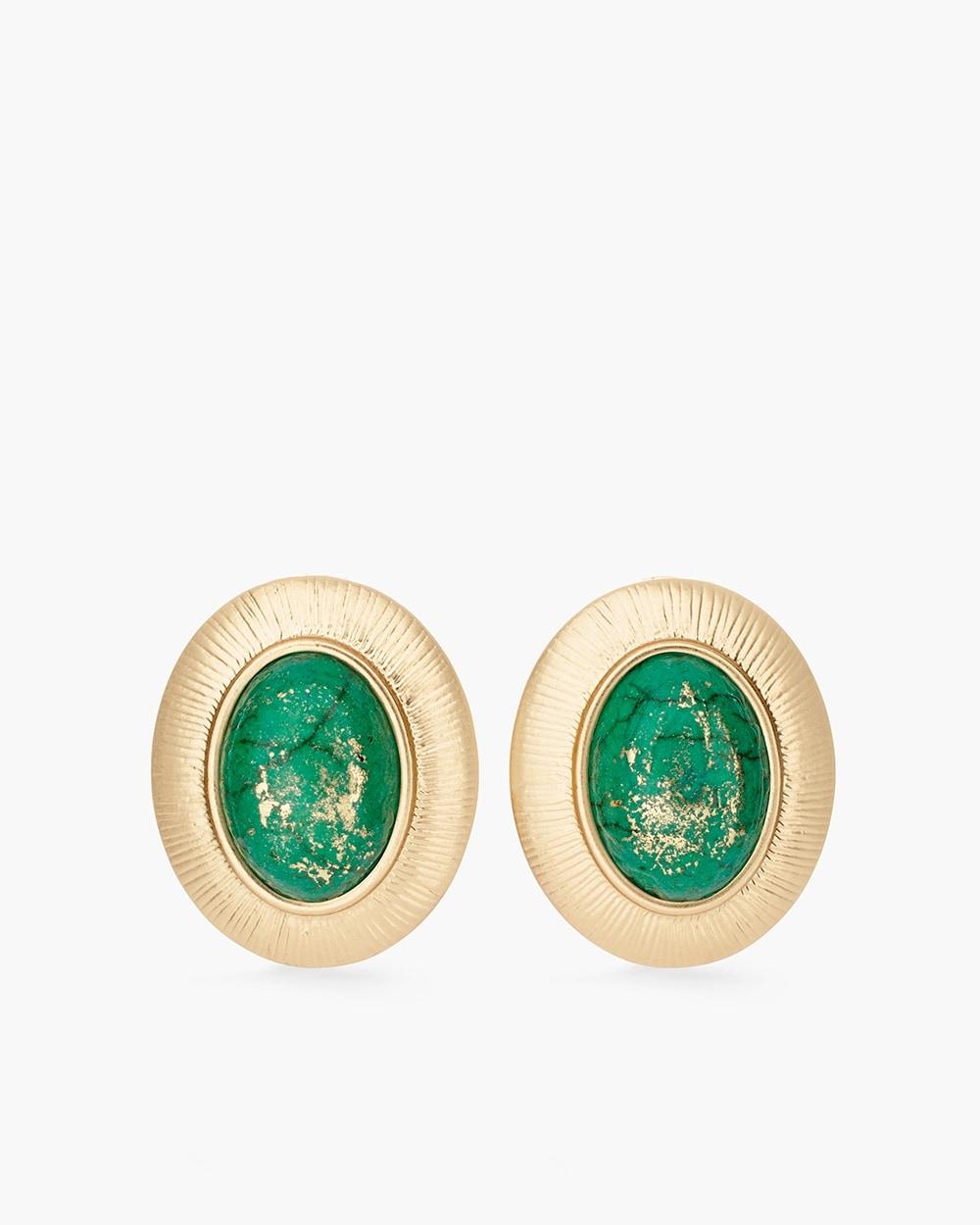 Green Stone Clip On Earrings