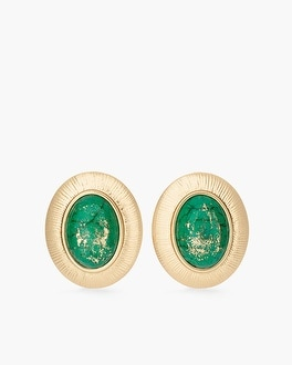 Chico's Green Stone Clip-On Earrings at Chico's in Auburn, GA | Tuggl