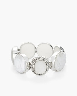Chico's White and Silver-Tone Wide Stretch Bracelet | Tuggl