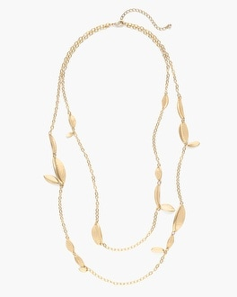 Chico's Gold-Tone Leaf Long Necklace at Chico's in Auburn, GA | Tuggl