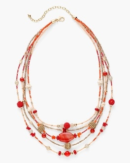 Chico's Warm Multi-Strand Seed Bead Necklace | Tuggl