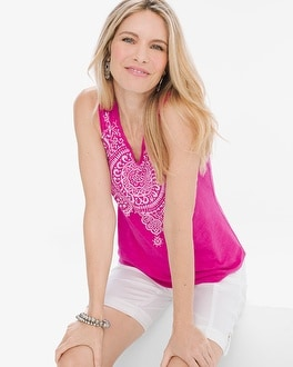 Chico's Medallion V-Neck Tank | Tuggl