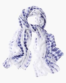 Chico's Indigo Tie-Dye Scarf | Tuggl